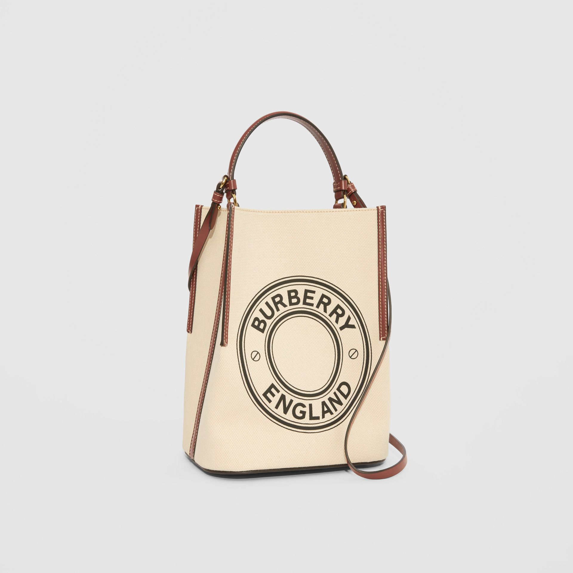 Small Logo Graphic Cotton Canvas Peggy Bucket Bag in Natural - Women | Burberry - gallery image 5
