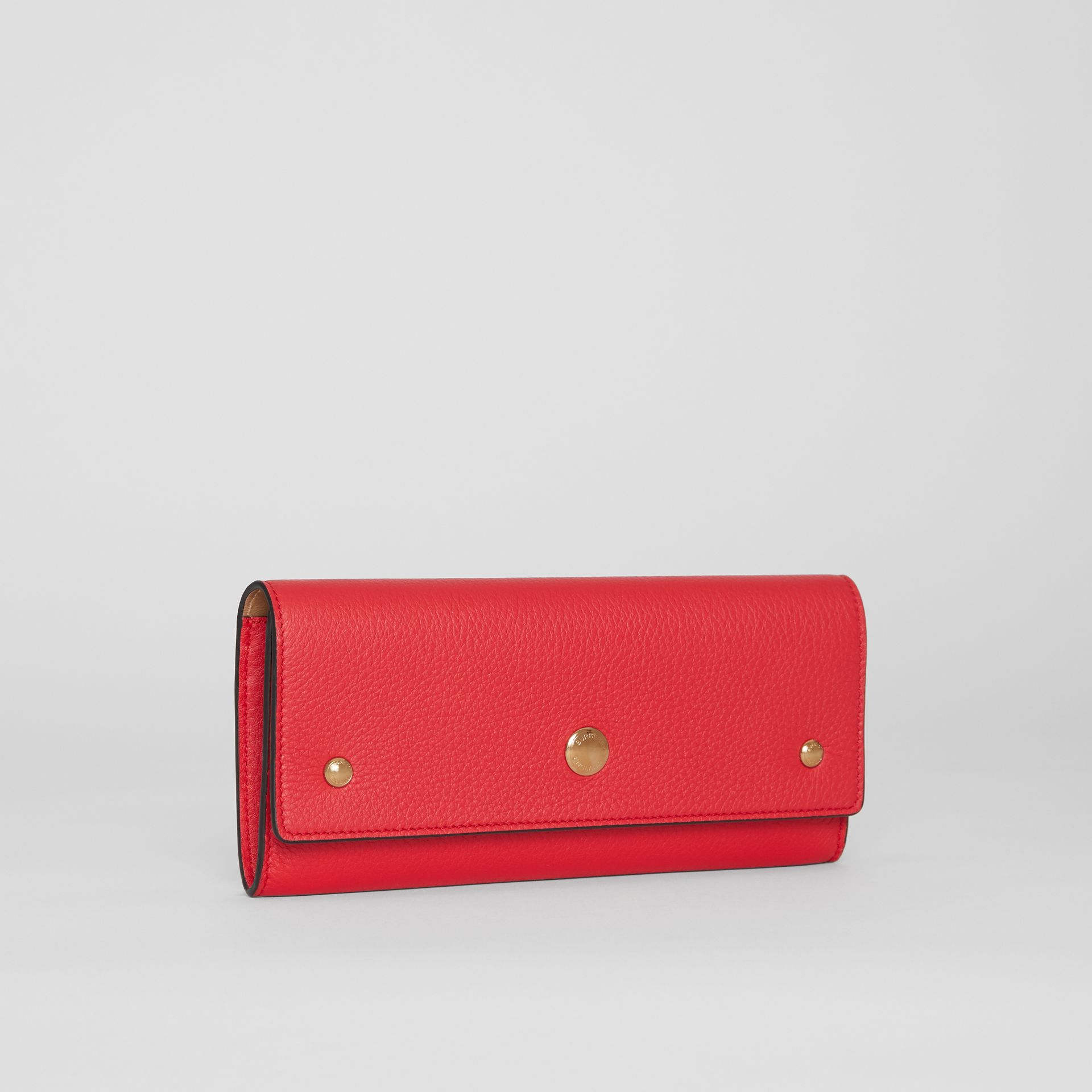 Grainy Leather Continental Wallet in Bright Military Red - Women | Burberry Singapore - gallery image 4