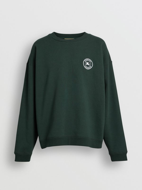 Embroidered Logo Jersey Sweatshirt in Forest Green - Men | Burberry United Kingdom - cell image 3