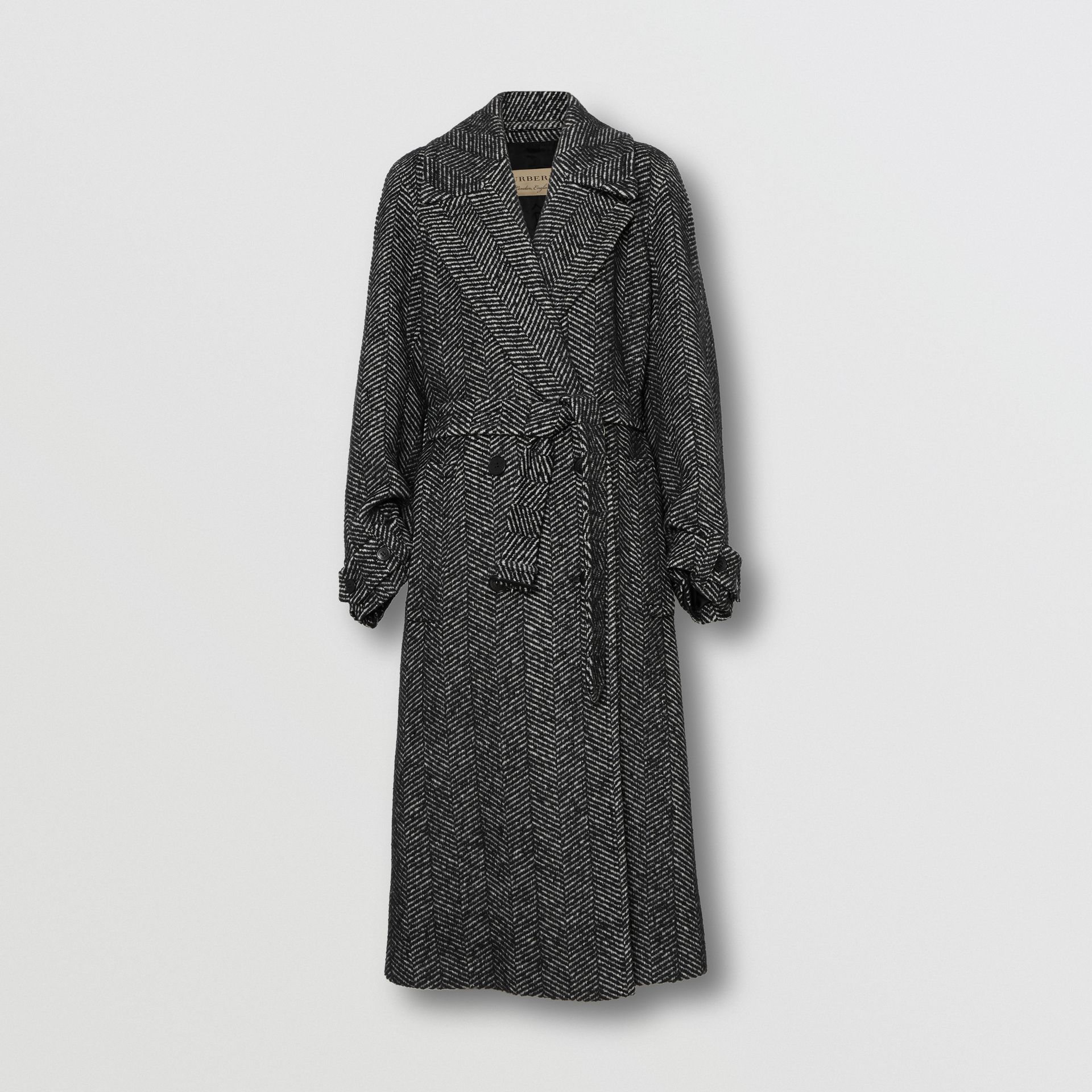 Herringbone Wool Silk Blend Double-breasted Coat in Black - Women | Burberry - gallery image 3