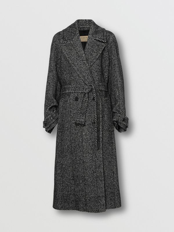 Herringbone Wool Silk Blend Double-breasted Coat in Black - Women | Burberry - cell image 3