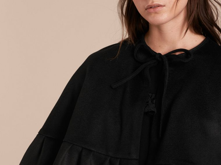 Ruffle Hem Cashmere Cape in Black - cell image 4