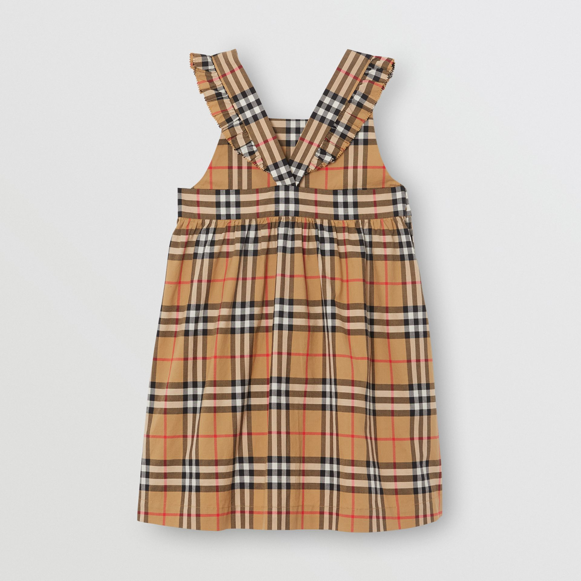 Ruffle Detail Vintage Check Cotton Dress in Antique Yellow | Burberry - gallery image 3