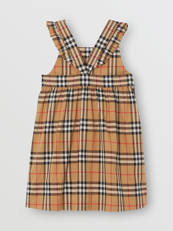 Ruffle Detail Vintage Check Cotton Dress in Antique Yellow | Burberry United States - cell image 3