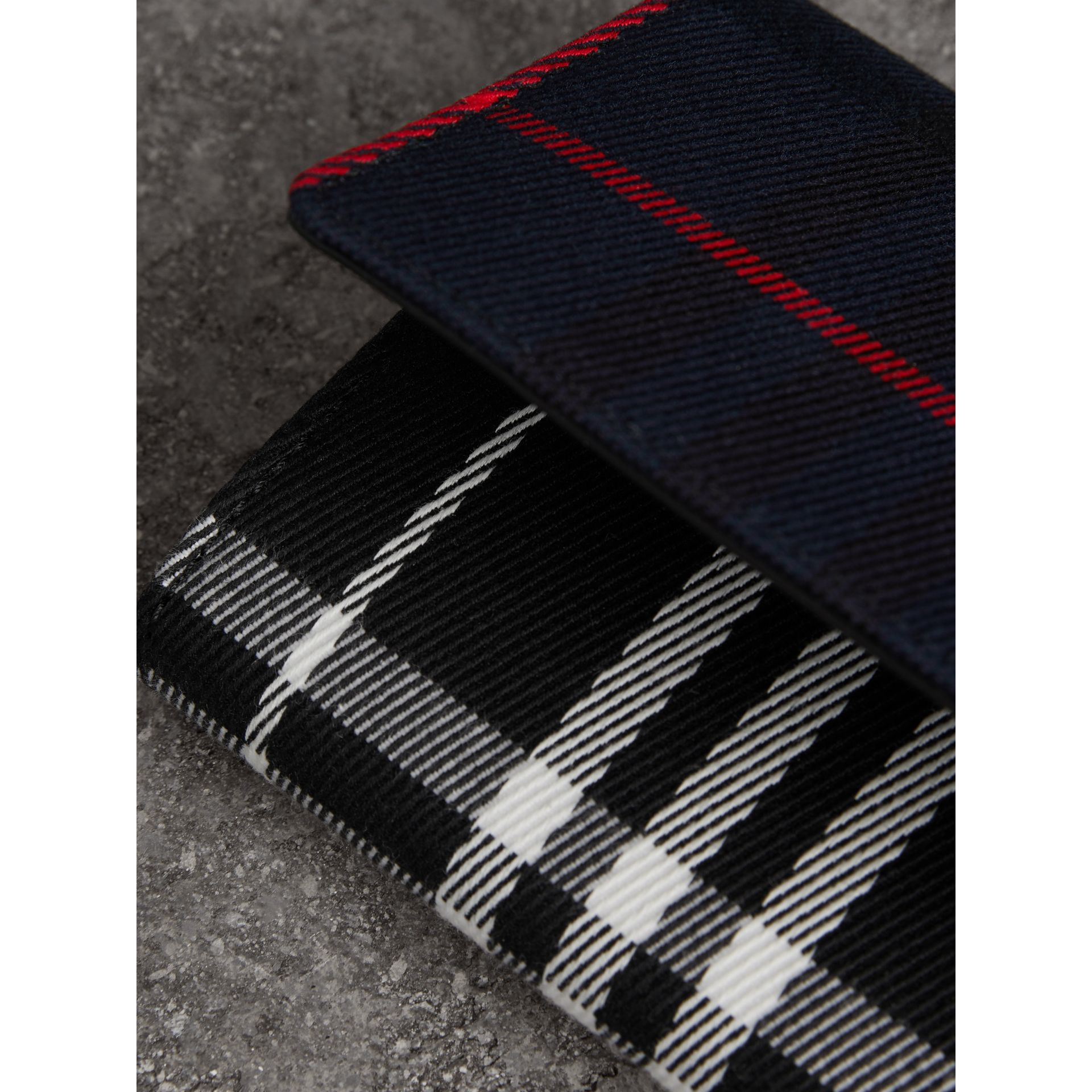 Tartan Cotton and Leather Wallet with Chain in Deep Navy/black - Women | Burberry - gallery image 1