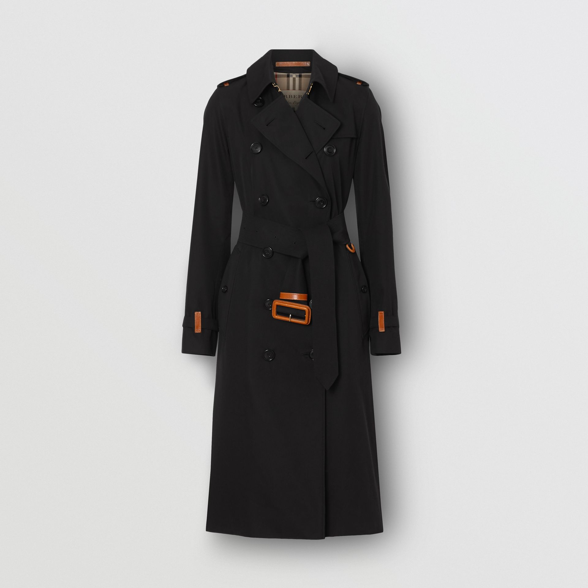 Leather Detail Cotton Gabardine Trench Coat in Black - Women | Burberry - gallery image 3