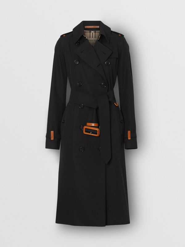 Leather Detail Cotton Gabardine Trench Coat in Black - Women | Burberry Australia - cell image 3