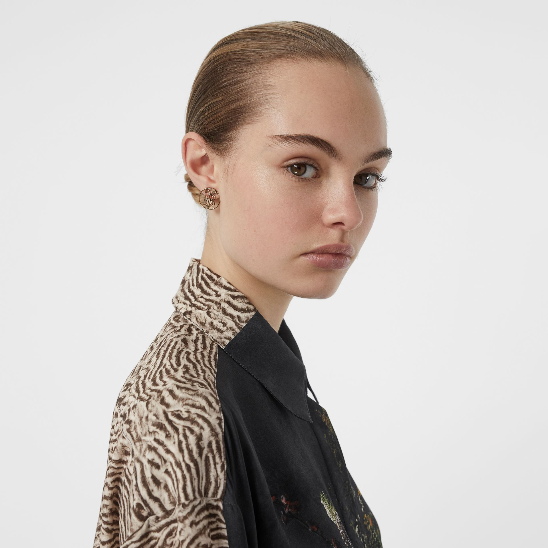 Floral and Tiger Print Silk Oversized Shirt in Black - Women | Burberry Australia - gallery image 5