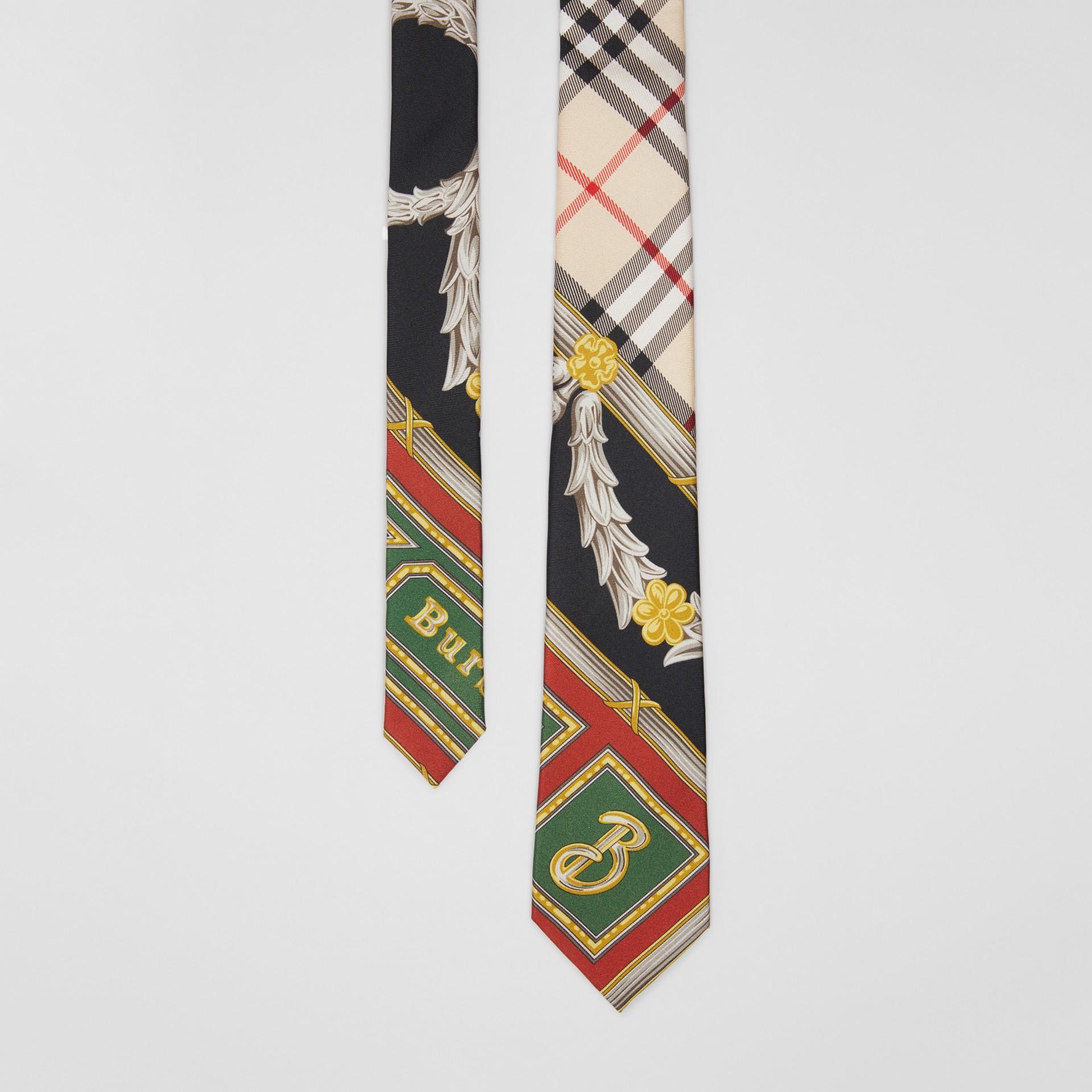 Modern Cut Archive Scarf Print Silk Tie in Dark Green - Men | Burberry United States - gallery image 0