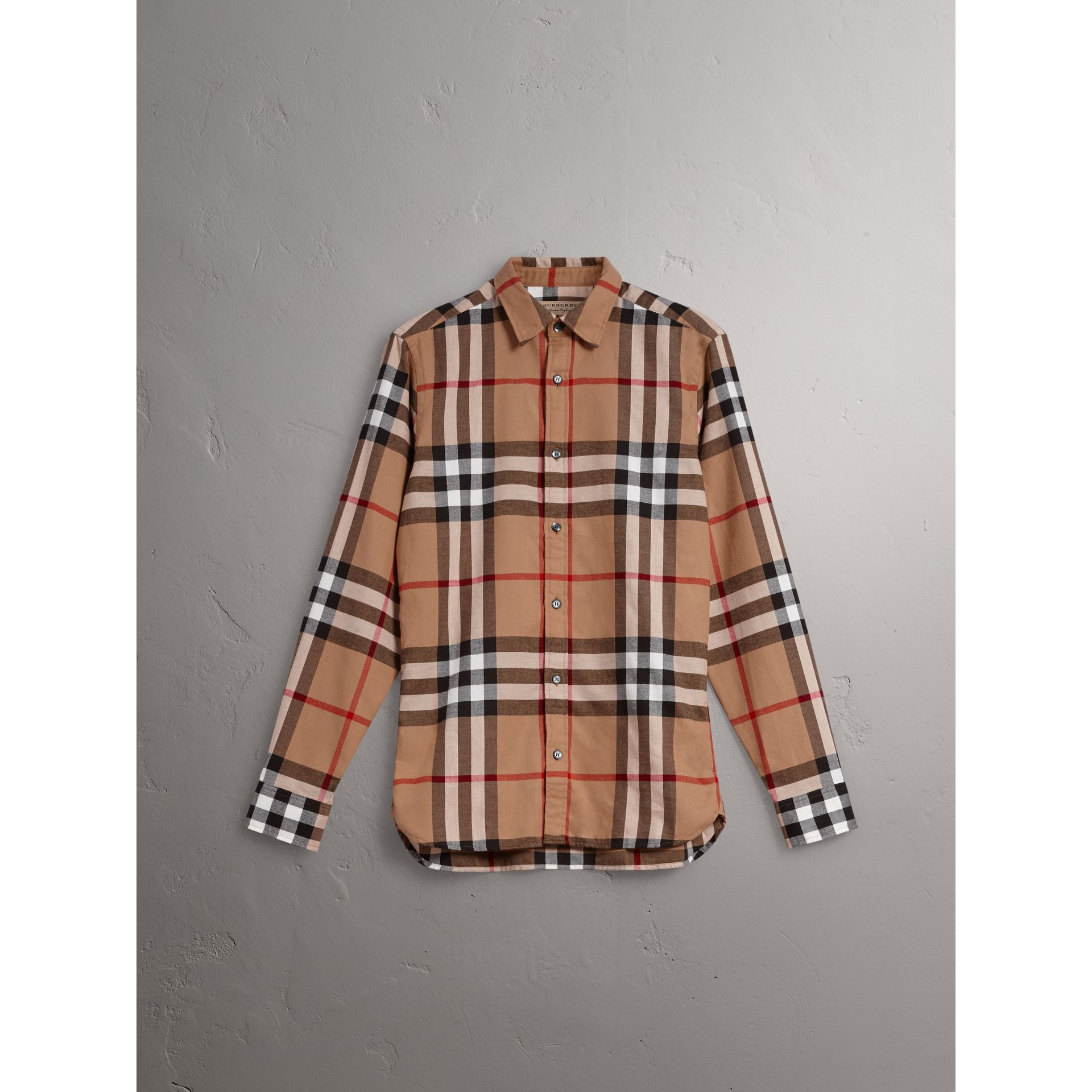 Check Cotton Flannel Shirt in Camel - Men | Burberry - gallery image 4