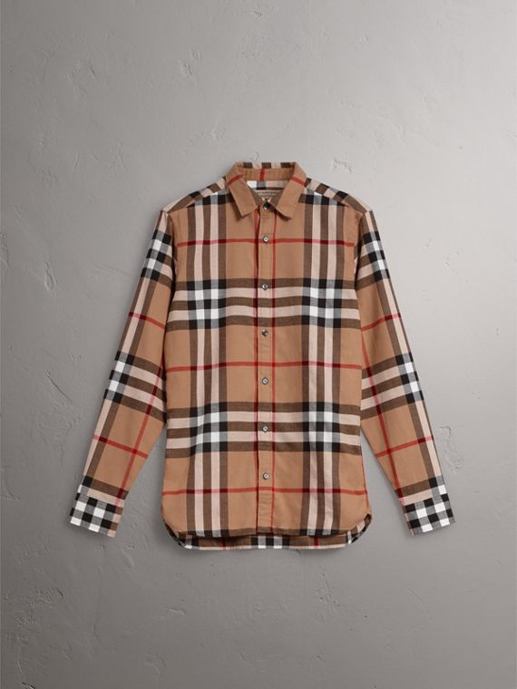 Check Cotton Flannel Shirt in Camel - Men | Burberry - cell image 3