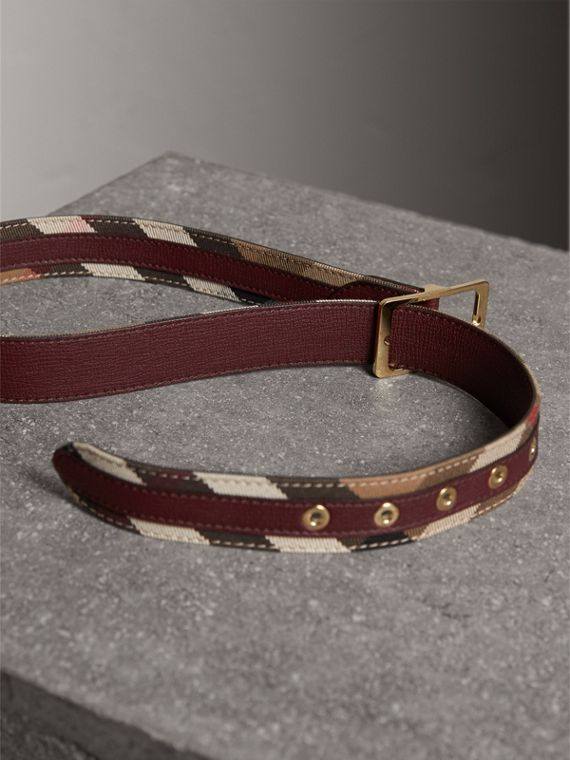 House Check and Grainy Leather Belt in Camel/mahogany Red - Women | Burberry Canada - cell image 3