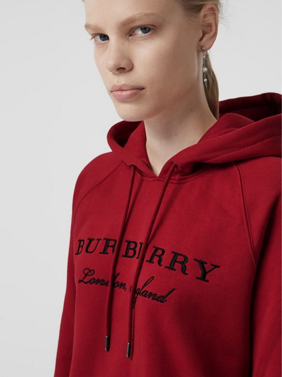 Embroidered Hooded Sweatshirt in Parade Red - Women | Burberry United Kingdom - cell image 1
