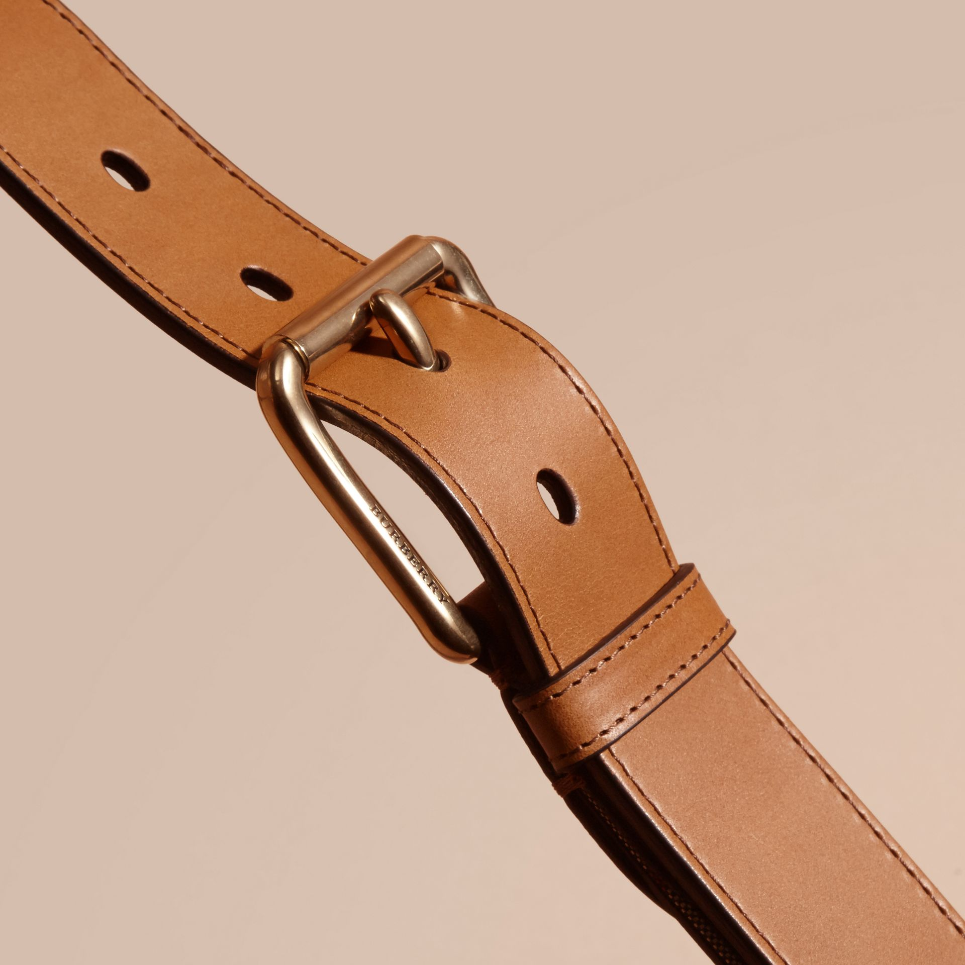 Horseferry Check and Leather Belt in Tan - gallery image 2