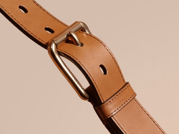 Horseferry Check and Leather Belt in Tan - Men | Burberry Australia - cell image 1