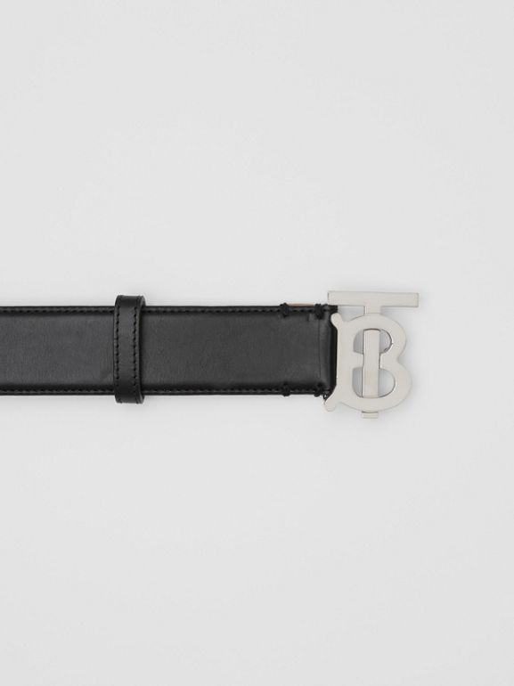 Monogram Motif Leather Belt in Black/palladio - Women | Burberry - cell image 1