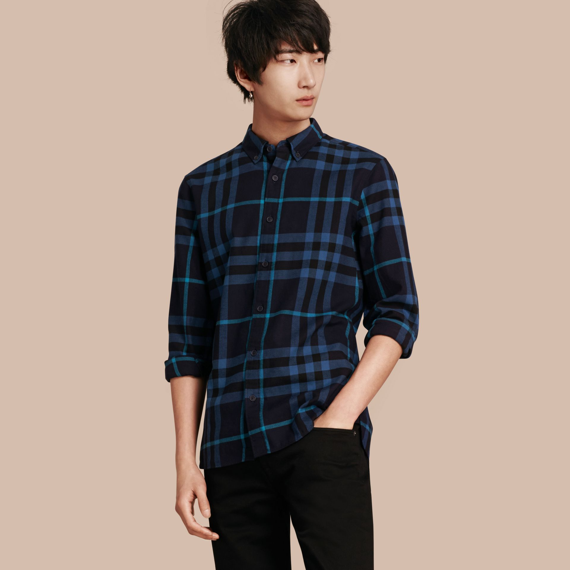 Bright navy Check Cotton Flannel Shirt Bright Navy - gallery image 1
