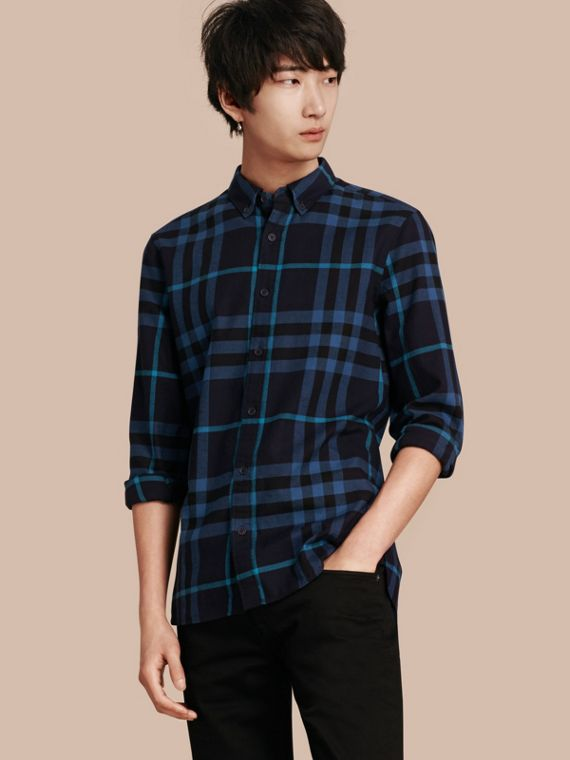 Check Cotton Flannel Shirt Bright Navy