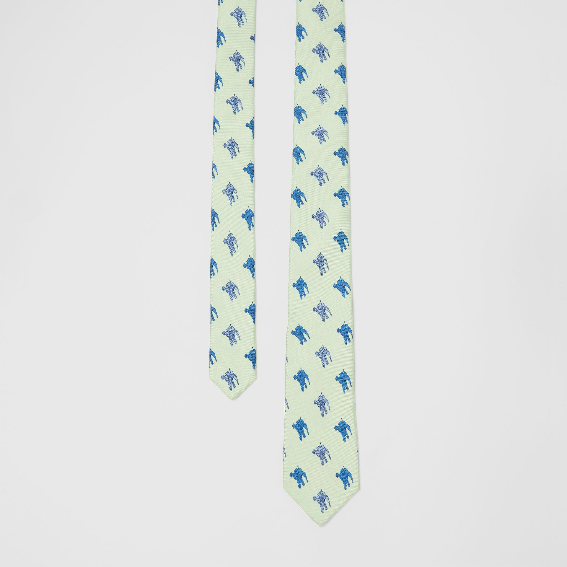 Slim Cut Equestrian Knight Print Silk Tie in Light Celadon - Men | Burberry - gallery image 0