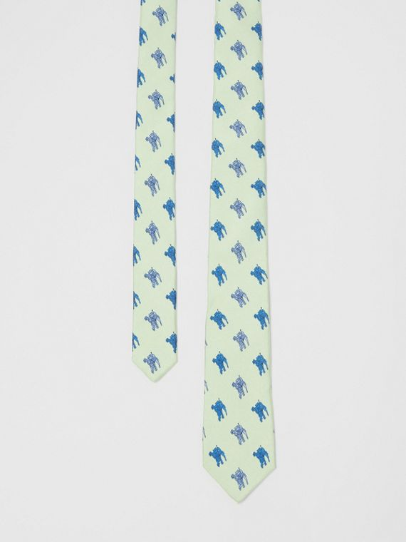 Slim Cut Equestrian Knight Print Silk Tie in Light Celadon