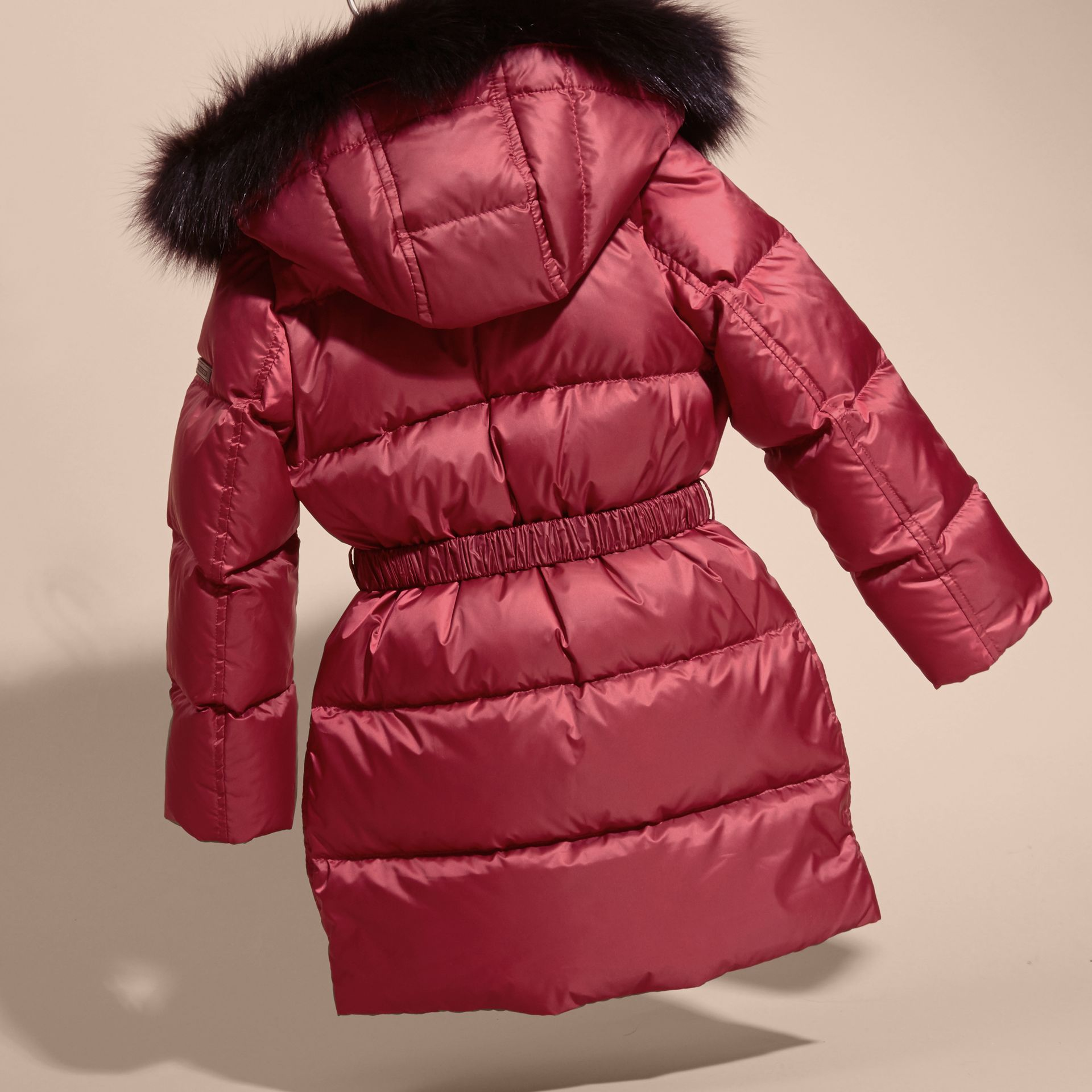 Dark plum pink Down-filled Coat with Detachable Fox Fur-trimmed Hood Dark Plum Pink - gallery image 4