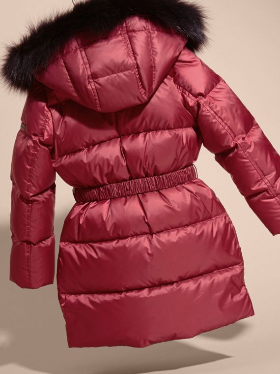 Dark plum pink Down-filled Coat with Detachable Fox Fur-trimmed Hood Dark Plum Pink - cell image 3