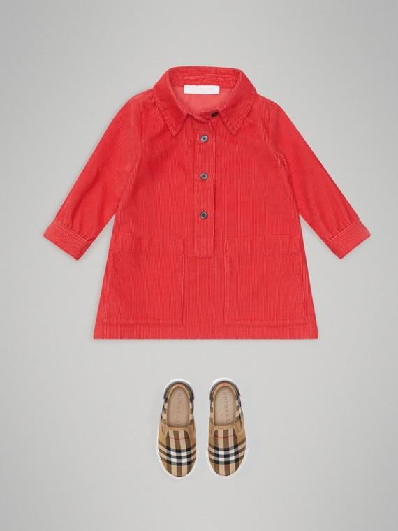 Corduroy Shirt Dress in Bright Orange Red