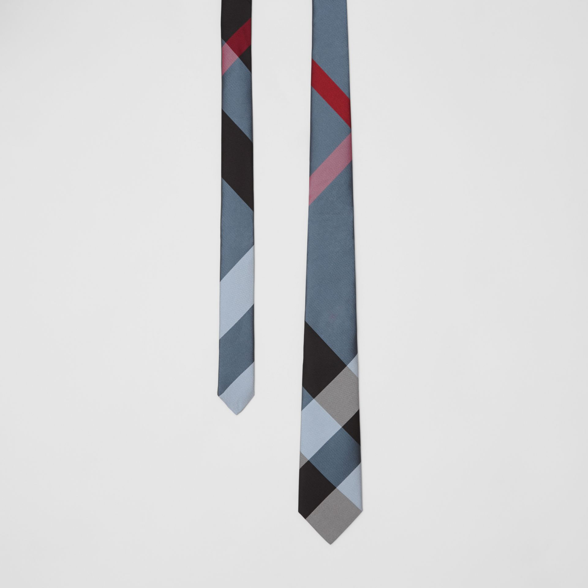 Modern Cut Oversized Check Silk Tie in Pale Blue - Men | Burberry United Kingdom - gallery image 0