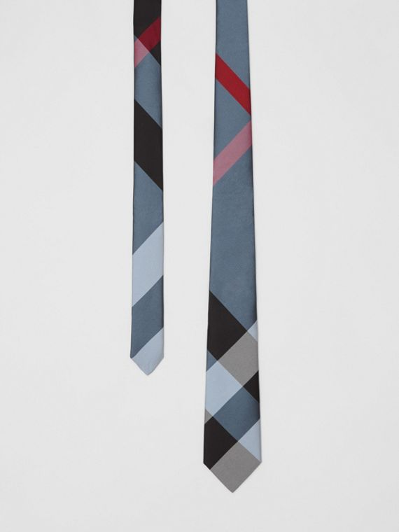 Modern Cut Oversized Check Silk Tie in Pale Blue