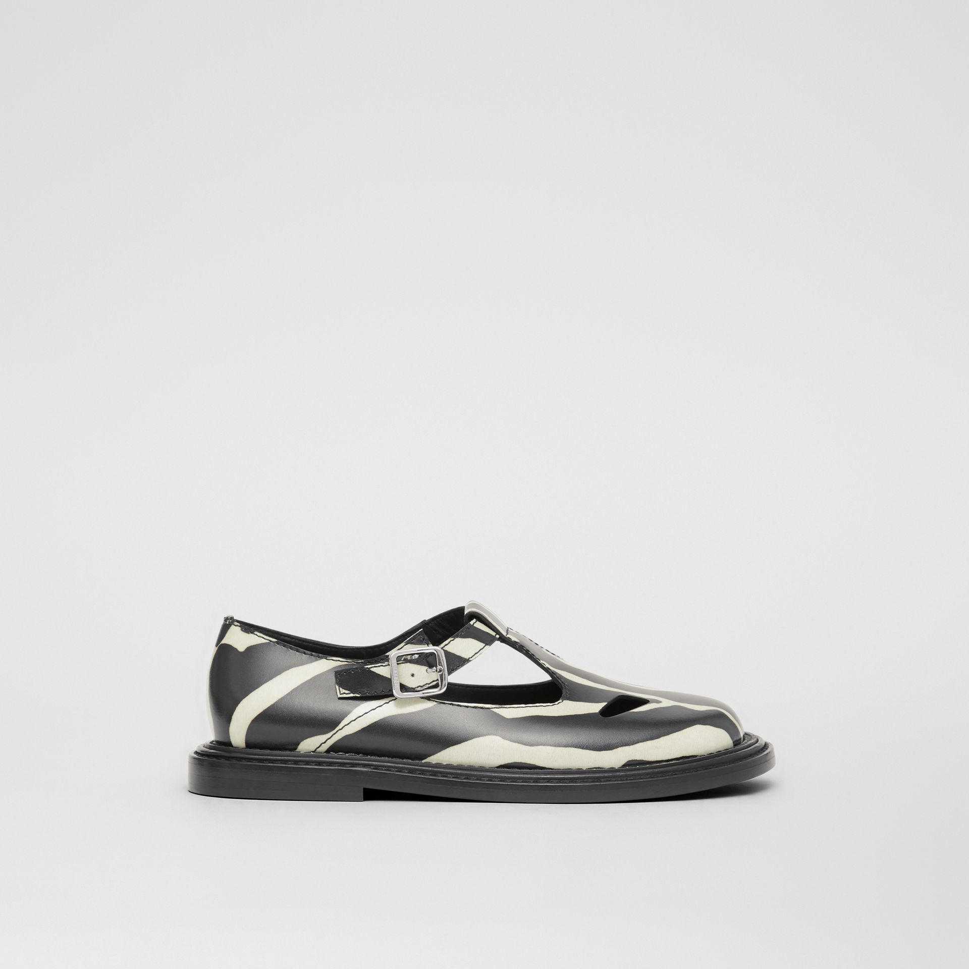 Zebra Print Leather T-bar Shoes in Black/white - Women | Burberry United Kingdom - gallery image 4