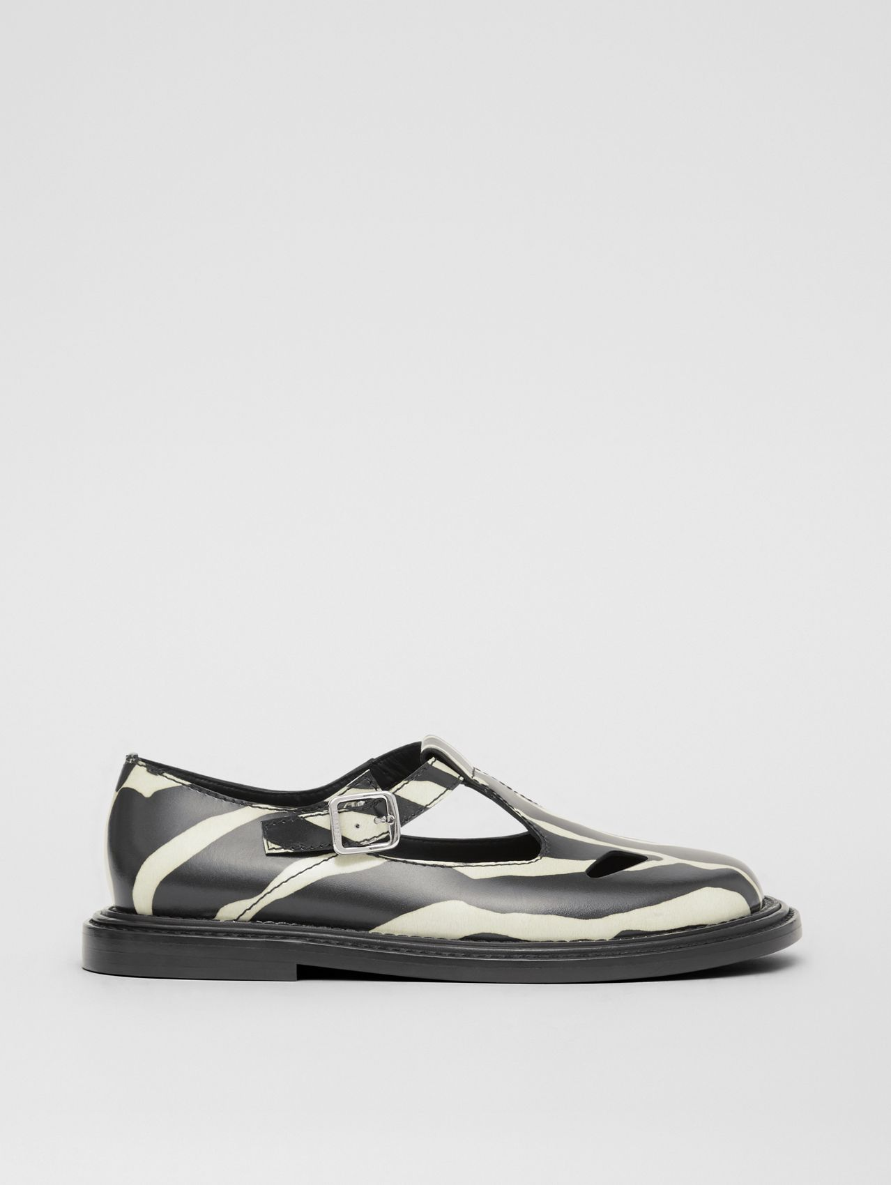 Zebra Print Leather T-bar Shoes (Black/white)