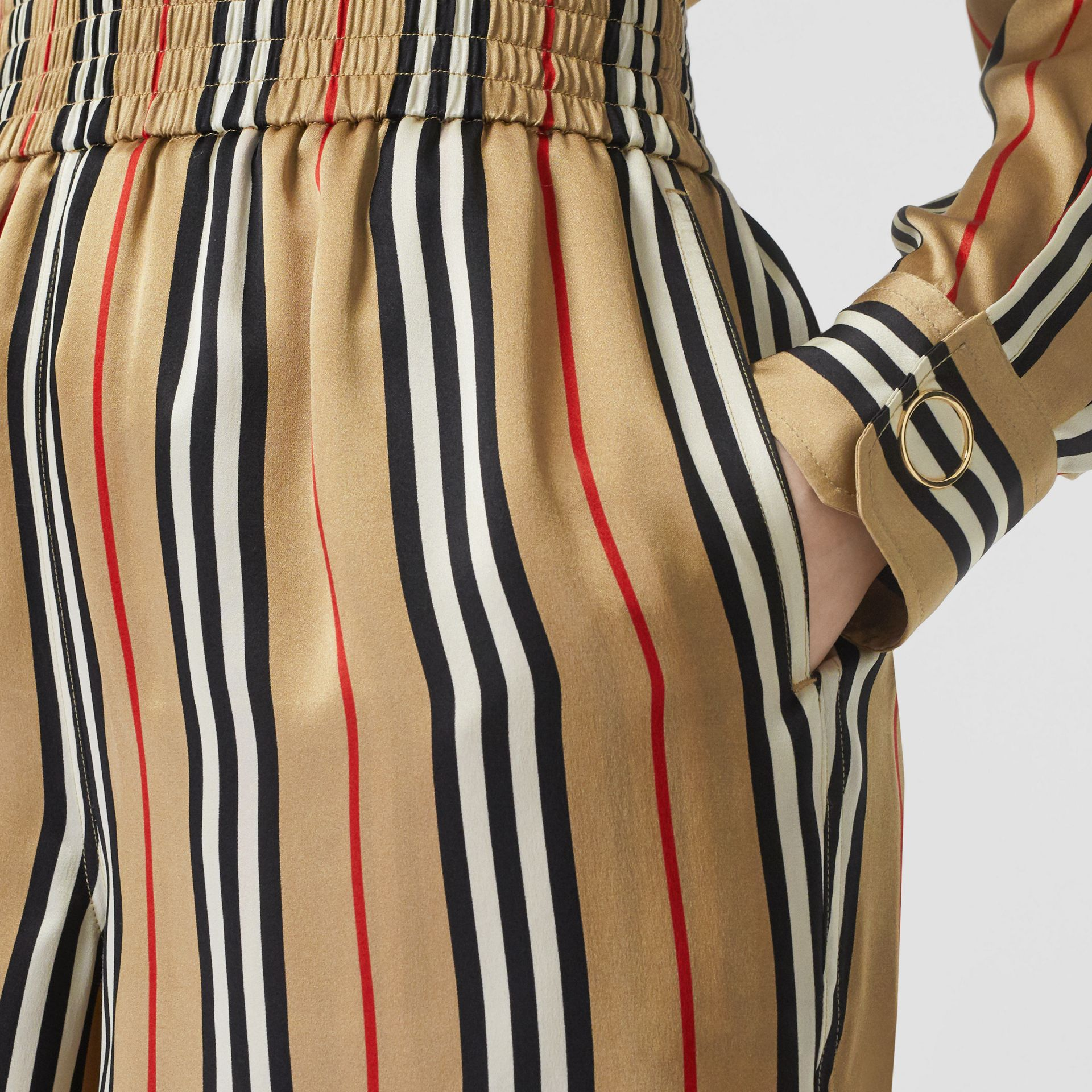 Icon Stripe Silk Shorts in Archive Beige - Women | Burberry Canada - gallery image 1