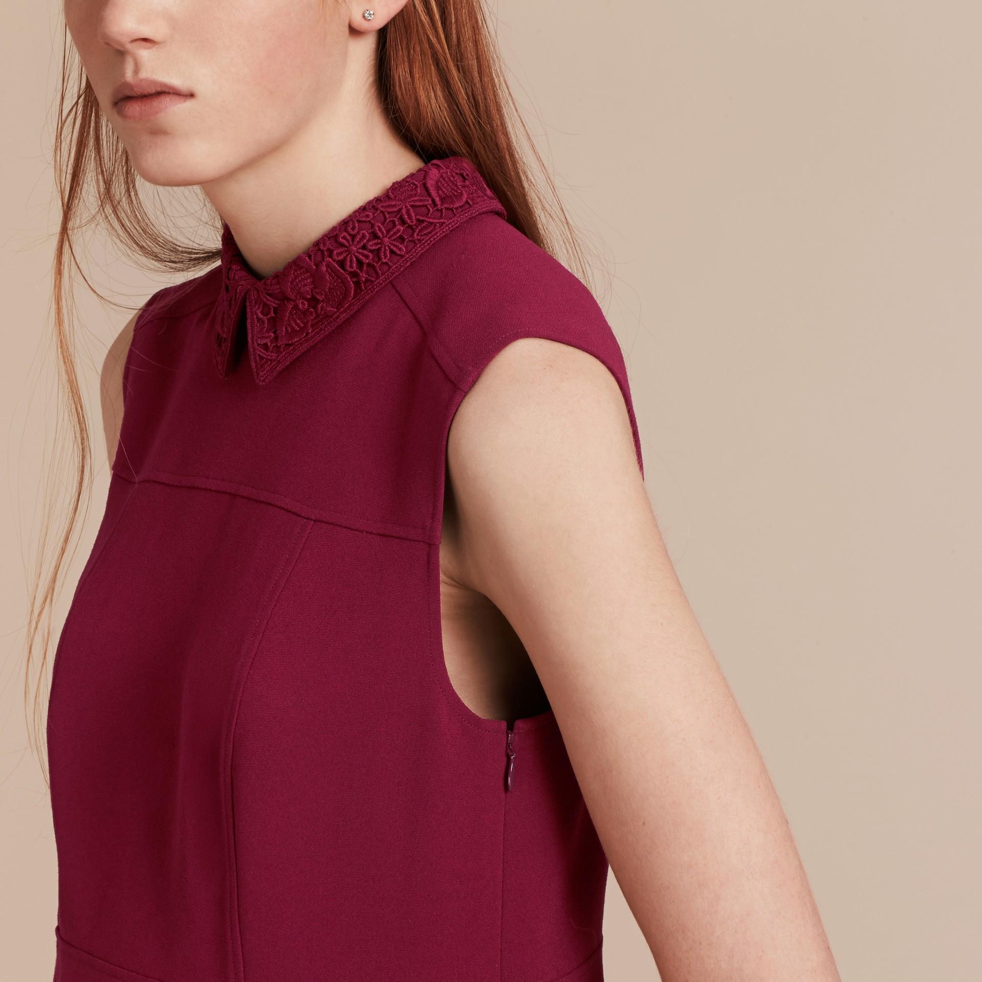 Dark crimson Sleeveless Lace Collar Dress - gallery image 5