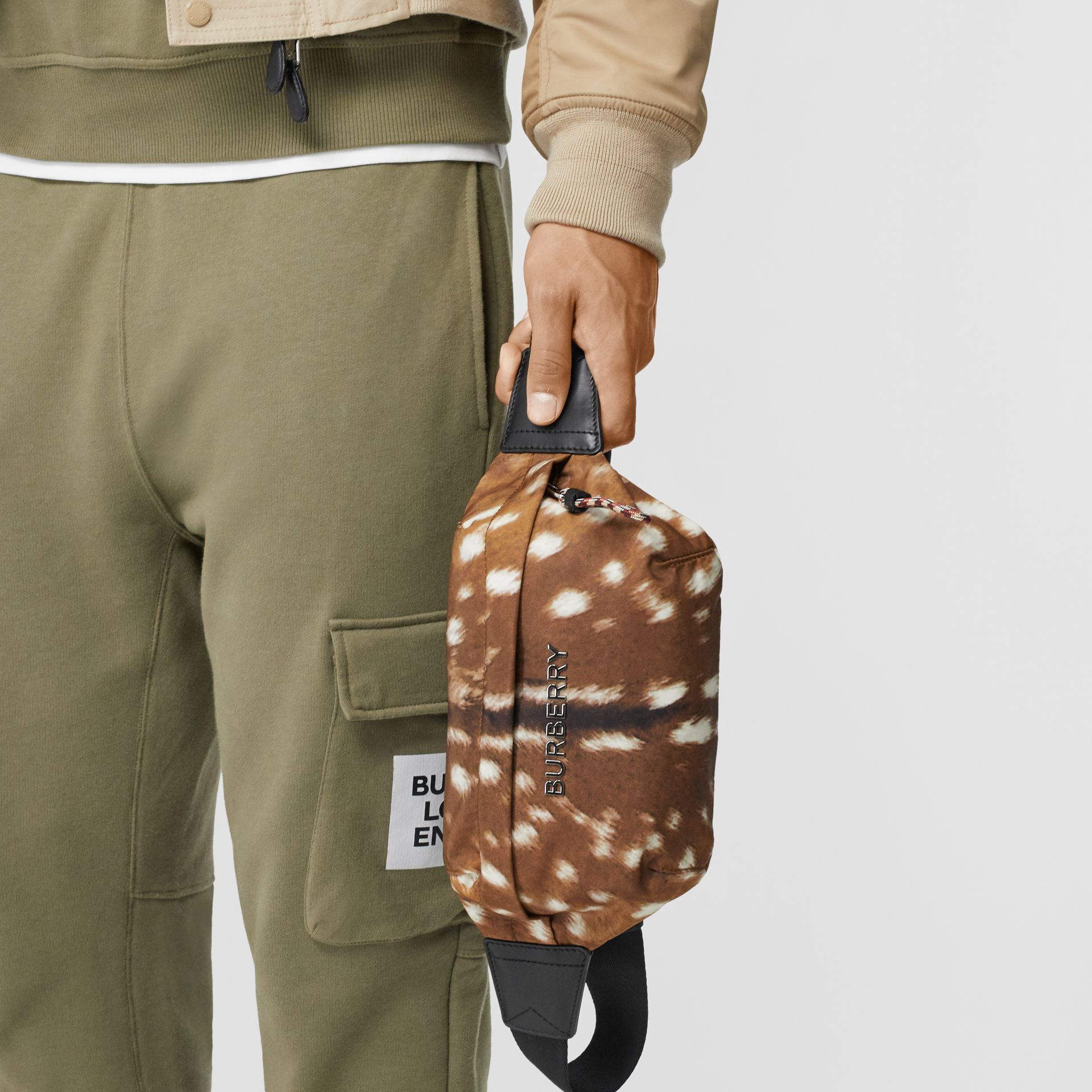 Medium Deer Print Bum Bag in Tan/white | Burberry Singapore - gallery image 3