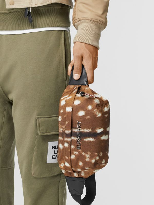 Medium Deer Print Bum Bag in Tan/white | Burberry - cell image 3