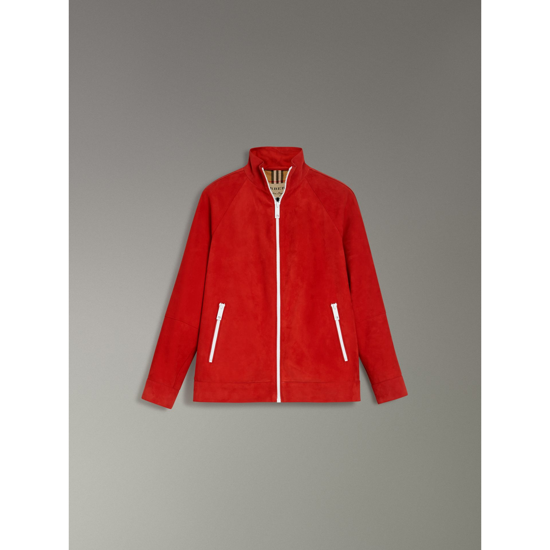 Suede Tracksuit Jacket in Bright Red - Women | Burberry United Kingdom - gallery image 3
