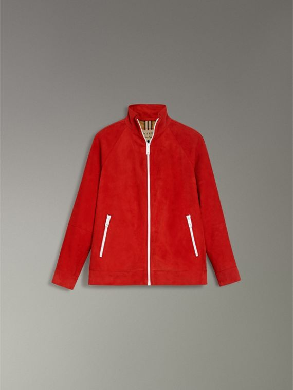 Suede Tracksuit Jacket in Bright Red - Women | Burberry - cell image 3