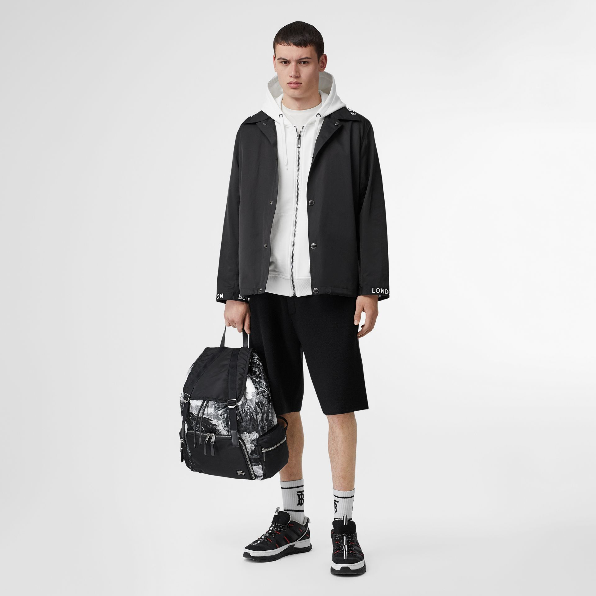 The Extra Large Rucksack in Dreamscape Print in Black/white - Men | Burberry United Kingdom - gallery image 5
