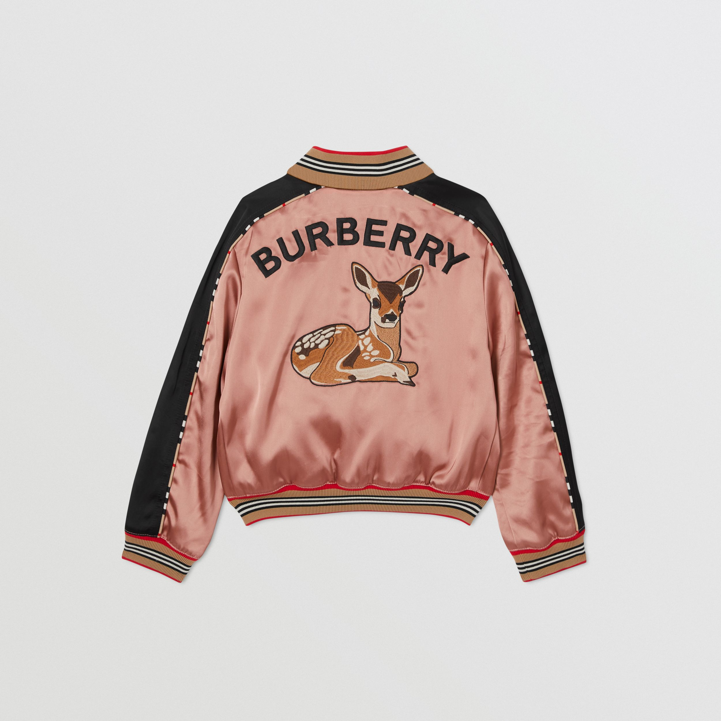 Deer Motif Sateen Bomber Jacket in Dusty Pink | Burberry - 4