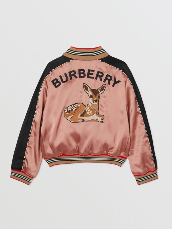 Deer Motif Sateen Bomber Jacket in Dusty Pink | Burberry United Kingdom - cell image 3