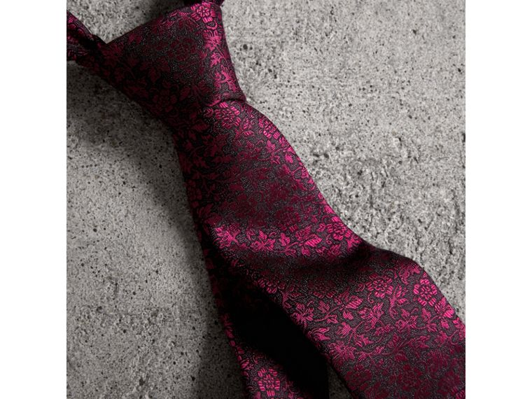 Slim Cut Floral Jacquard Silk Tie in Bright Fuschia - Men | Burberry - cell image 1