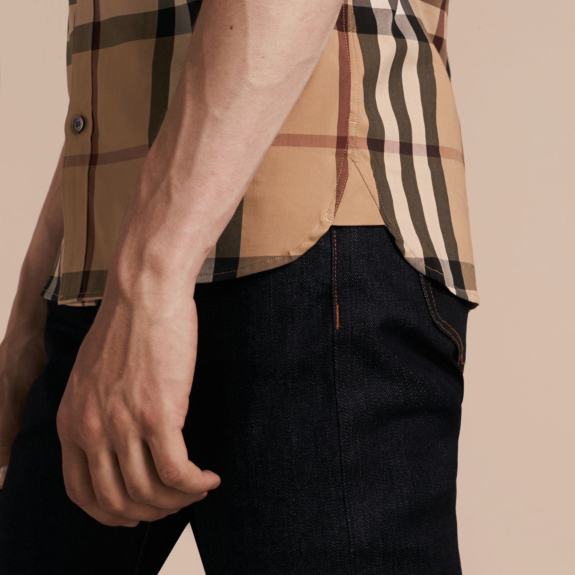 Camel Short-sleeved Check Stretch Cotton Shirt Camel - gallery image 5