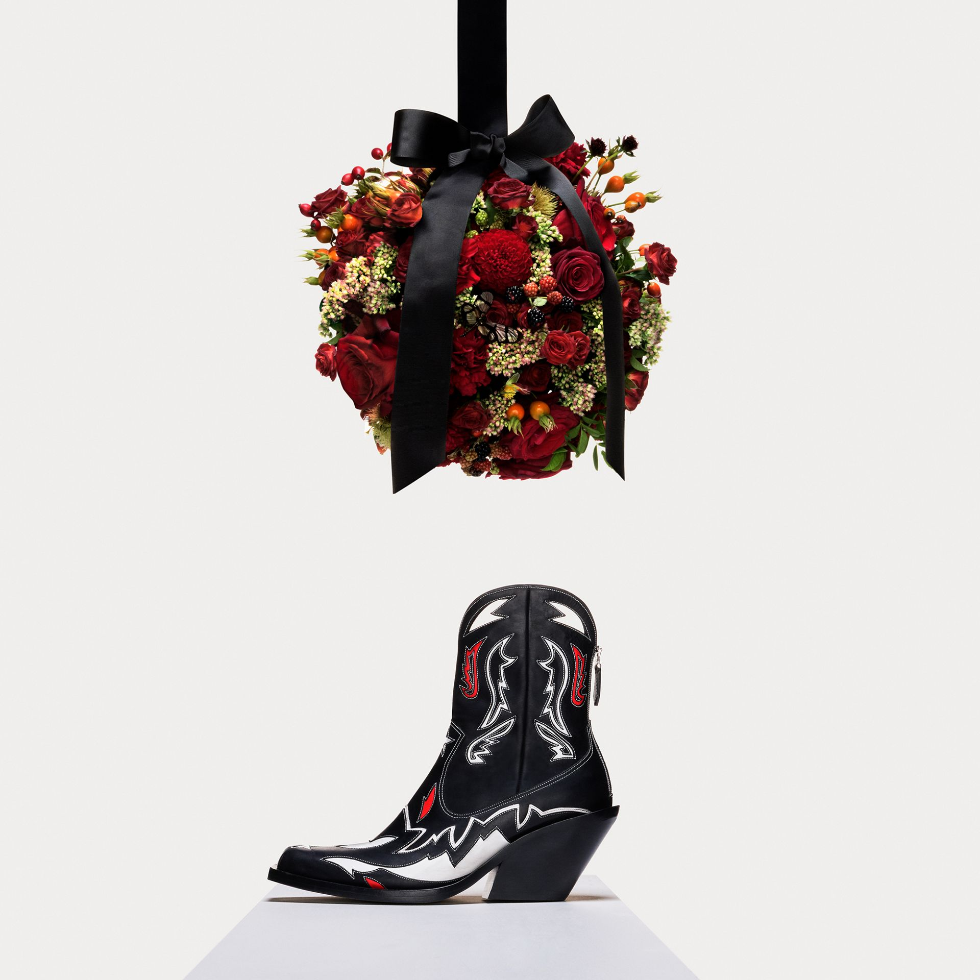 Topstitch Appliqué Leather Boots in Black/white - Women | Burberry - gallery image 1
