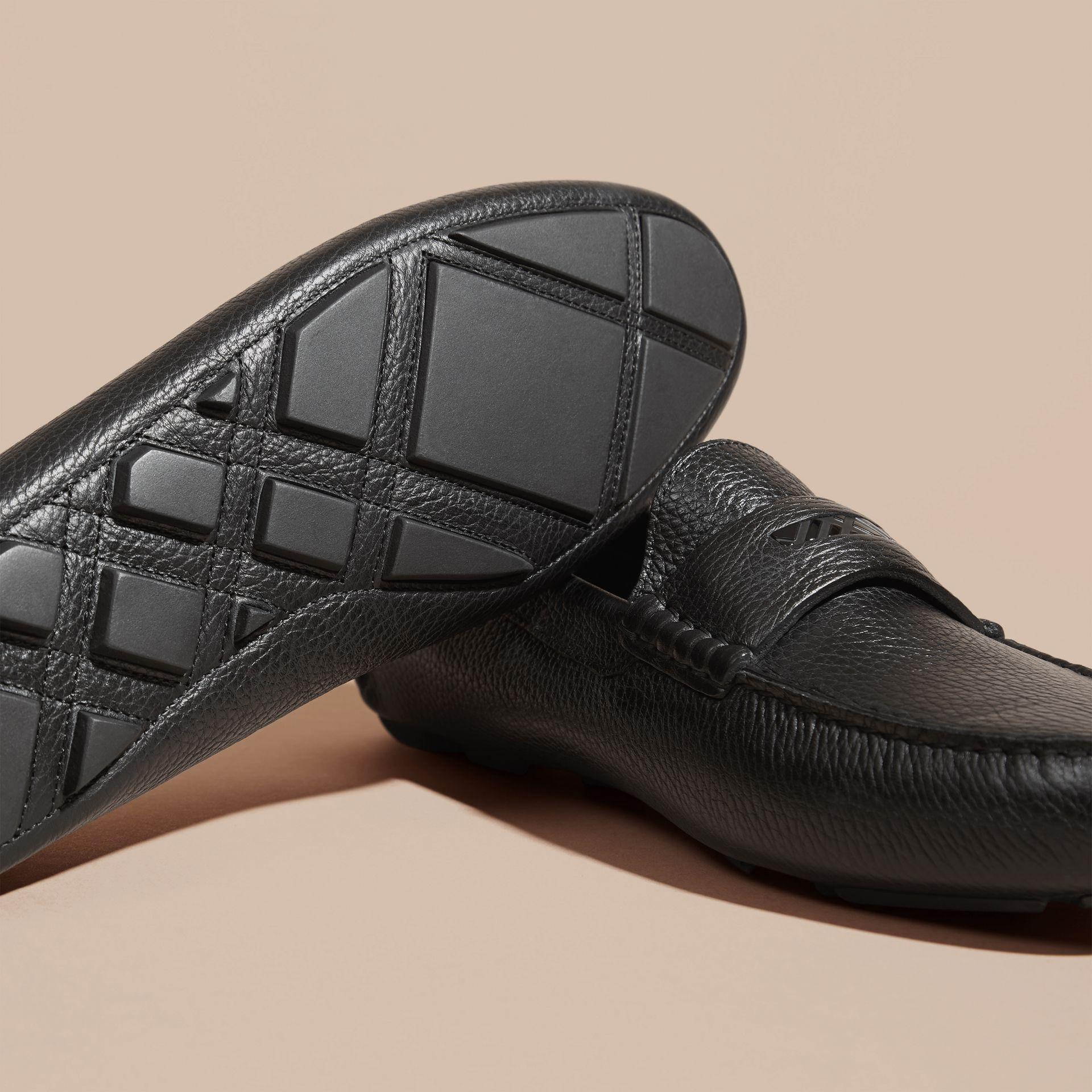 Black Grainy Leather Loafers with Engraved Check Detail Black - gallery image 5