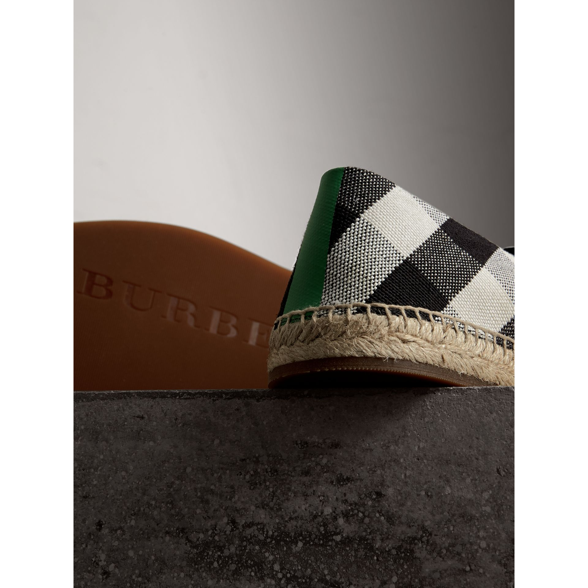 Check Cotton Canvas Seam-sealed Espadrilles in Black - Men | Burberry - gallery image 1