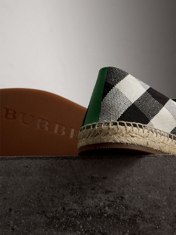 Check Cotton Canvas Seam-sealed Espadrilles in Black - Men | Burberry Canada - cell image 1
