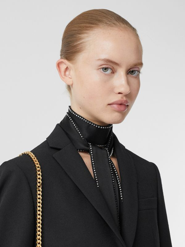 Crystal Trim Silk Satin Jacquard Skinny Scarf in Black - Women | Burberry United States - cell image 2