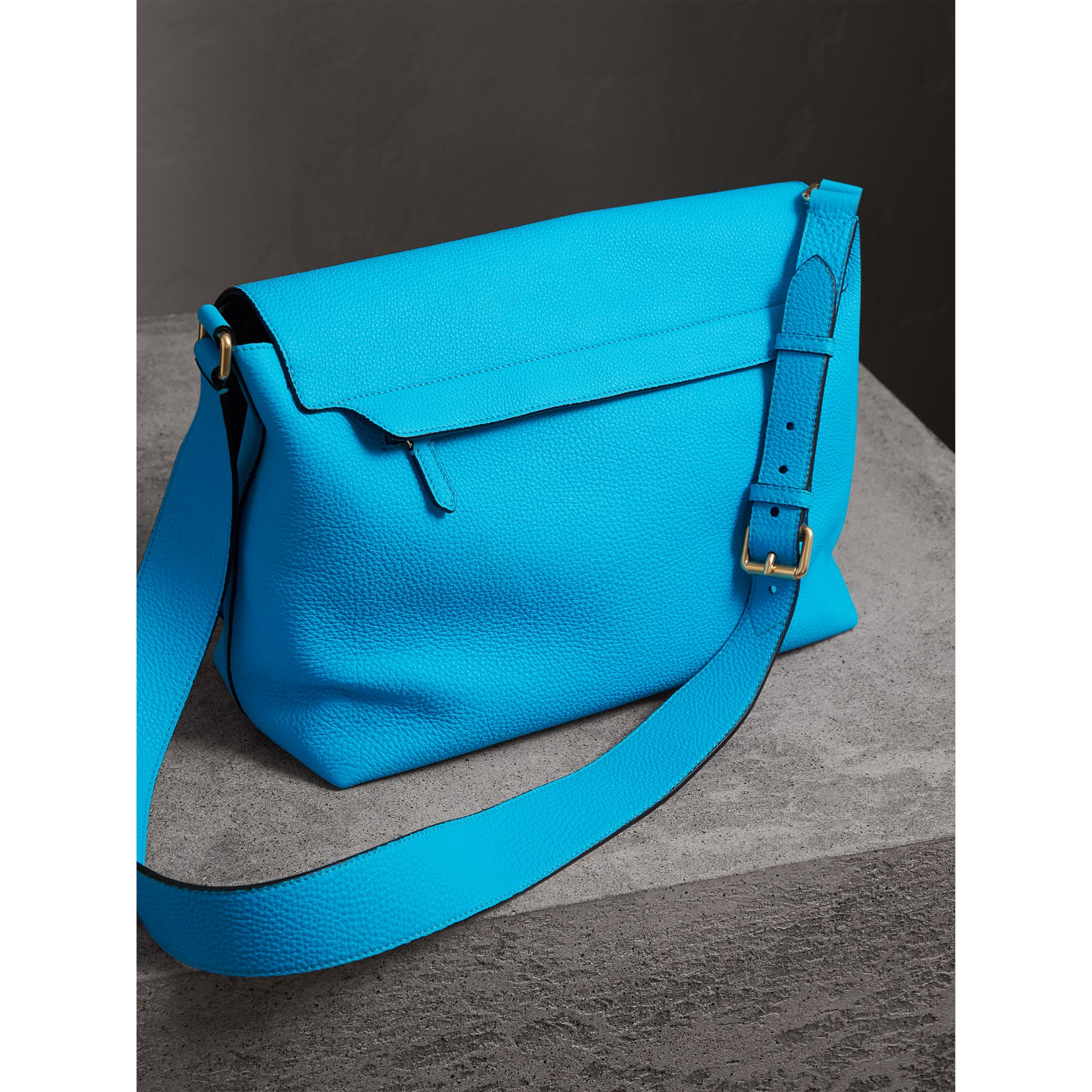 Large Embossed Leather Messenger Bag in Neon Blue | Burberry - gallery image 3