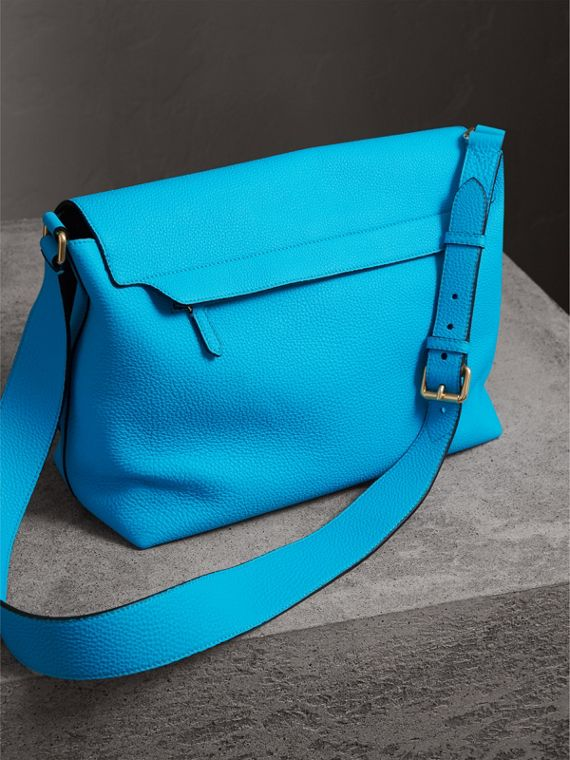 Large Embossed Leather Messenger Bag in Neon Blue | Burberry - cell image 3