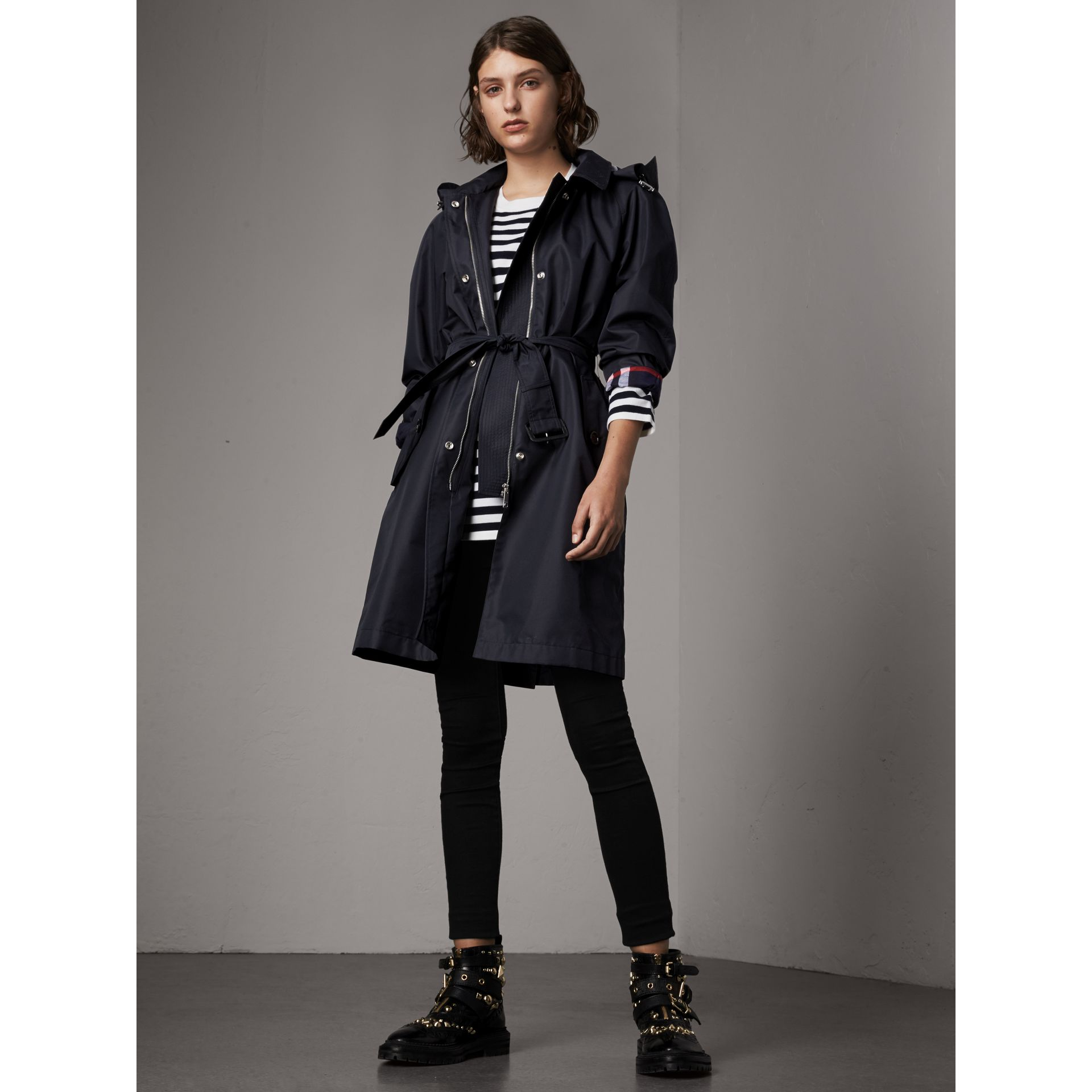 Detachable Hood Cotton Blend Car Coat in Navy - Women | Burberry - gallery image 1